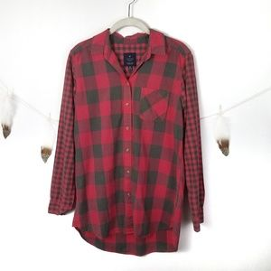 AMERICAN EAGLE Jegging Gingham Check Tunic Shirt S